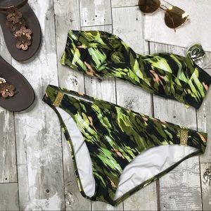 GIANNI BINI Green Bikini Two Piece Swimsuit Large